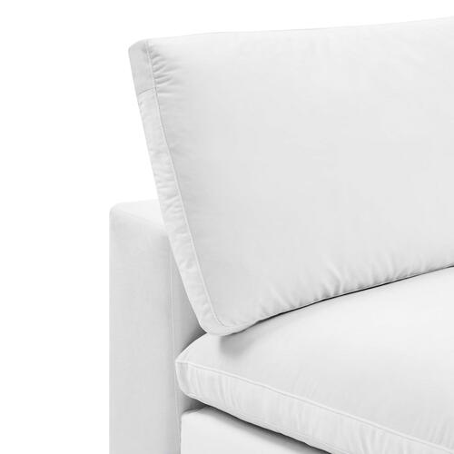 Commix Down Filled Overstuffed Performance Velvet Armless Chair in White