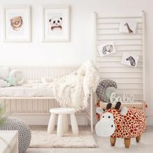 Critter Sitters 14-In. Seat Height Giraffe Animal Shape Ottoman - Furniture for Nursery, Bedroom, Playroom, and Living Room Decor, CSGIR2STOTT-MLT