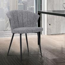 View Product - Orchid Contemporary Dining Chair in Black Powder Coated Finish with Grey Fabric and Black Brushed Wood Finish Back