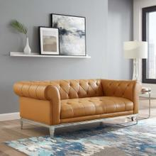 Idyll Tufted Button Upholstered Leather Chesterfield Loveseat in Tan
