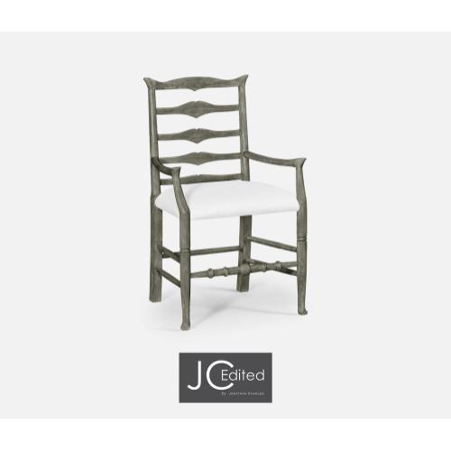 Antique Dark Grey Ladder Back Arm Chair, Upholstered in COM