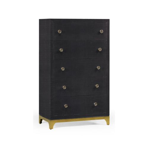 Tall chest with blazer buttons (Charcoal/Gold)