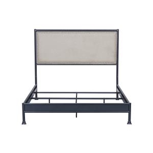 Industrial Upholstered Panel Queen Metal Bed with Nail Boarder