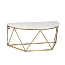 """See Details - Wood / Metal 16"""" L Demilune Wall Shelf, White"""