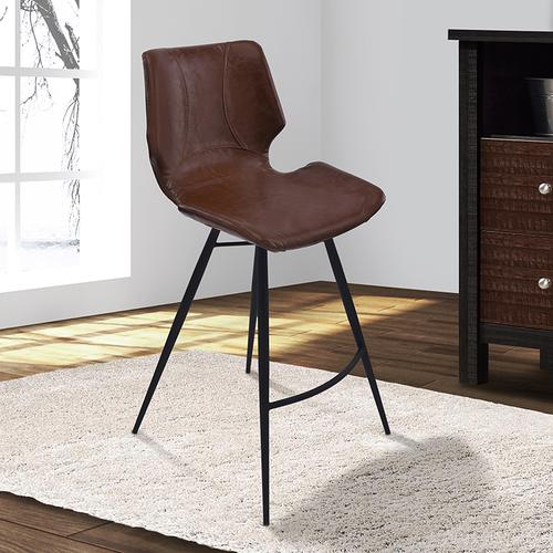 "Armen Living Zurich 26"" Counter Height Metal Barstool in Vintage Coffee Pu and Black Metal Finish"
