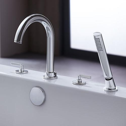 Percy Deck-Mounted Bathtub Faucet with Stem Handles - Polished Chrome