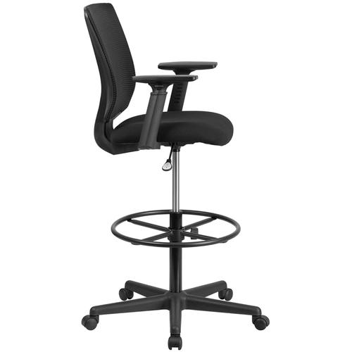 Gallery - Ergonomic Mid-Back Mesh Drafting Chair with Black Fabric Seat, Adjustable Foot Ring and Adjustable Arms