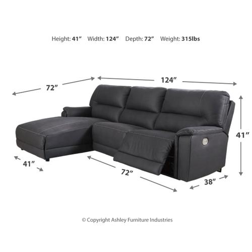 Signature Design By Ashley - Henefer 3-piece Power Reclining Sectional With Chaise