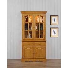 DLU-19-BH-LO  Keepsake Buffet and Lighted Hutch  Light Oak