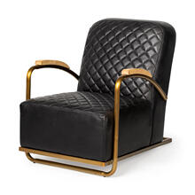 Horace I Black Leather Diamond Pattern w/Gold Iron Frame Accent Chair