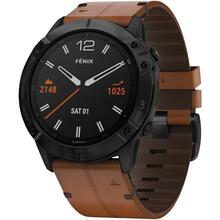 f nix® 6X Sapphire Multisport GPS Watch (Black DLC with Chestnut Leather Band)