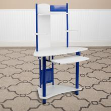 Product Image - Blue Corner Computer Desk with Hutch