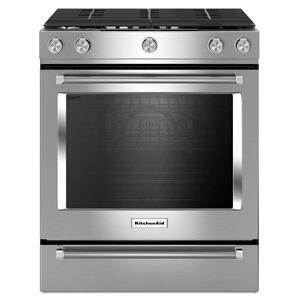 KitchenAid30-Inch 5-Burner Gas Slide-In Convection Range - Stainless Steel