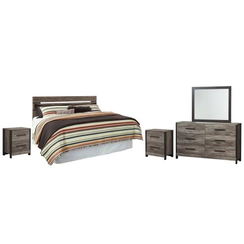 Ashley - King/california King Panel Headboard With Mirrored Dresser and 2 Nightstands