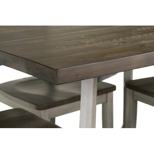 Fairhaven Dining Table and Four Chairs Set, Distressed Reclaimed Oak Plank Top, Grey Base