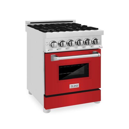 Zline Kitchen and Bath - ZLINE 24 in. Professional Dual Fuel Range in DuraSnow® Stainless Steel with Color Door Options (RAS-SN-24) [Color: DuraSnow® With White Matte Door]