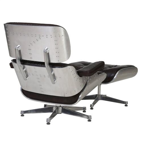 Product Image - Grayson PU Lounge Accent Arm Chair and Ottoman Aluminum Frame, Distressed Java