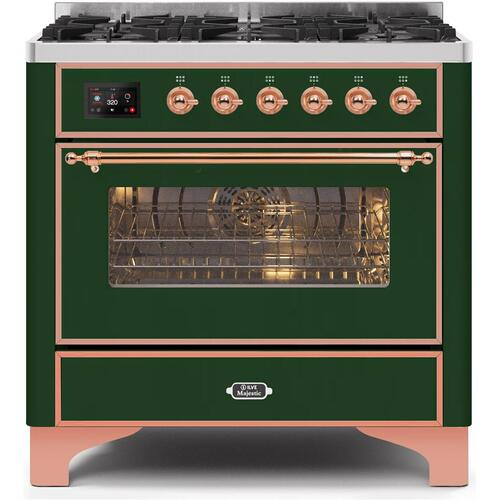 Majestic II 36 Inch Dual Fuel Liquid Propane Freestanding Range in Emerald Green with Copper Trim
