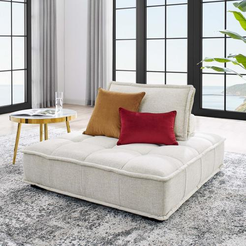 Modway - Saunter Tufted Fabric Armless Chair in Beige