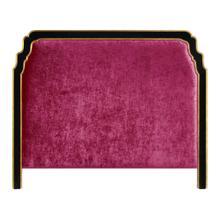 Cali King Black & Gilded Headboard, Upholstered in Fuchsia Velvet