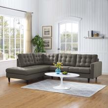 Empress 2 Piece Upholstered Fabric Left Facing Bumper Sectional in Granite