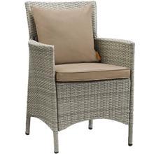 Conduit Outdoor Patio Wicker Rattan Dining Armchair in Light Gray Mocha