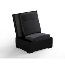 JumpSeat Ottoman, True Black Cover / Slate Seat