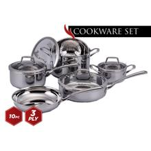 View Product - Culinary Professional 3-Ply Stainless Steel 10 Piece Cookware Set