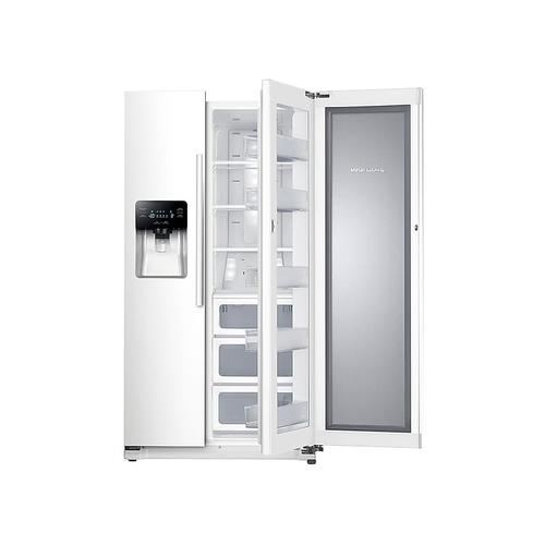 Samsung - 25 cu. ft. Food Showcase Side-by-Side Refrigerator with Metal Cooling in White