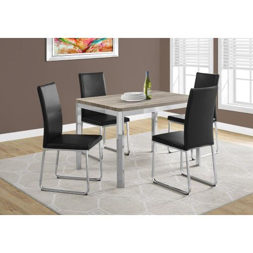 "DINING CHAIR - 2PCS / 38""H / BLACK LEATHER-LOOK / CHROME"