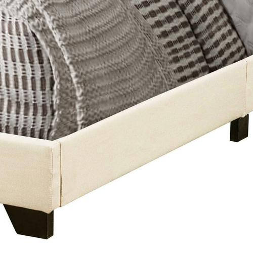 Button Tufted Full Upholstered Bed in Cream