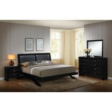 Blemerey 110 Black Wood Arch-Leg Bed Group KING AND QUEEN Bed Dresser Mirror Night Stand, King