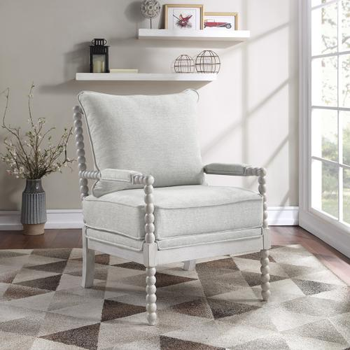 Kaylee Spindle Chair In Smoke Fabric With White Frame