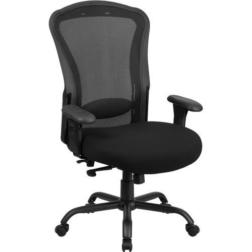 Flash Furniture - HERCULES Series 24\/7 Intensive Use Big & Tall 400 lb. Rated Black Mesh Multifunction Synchro-Tilt Ergonomic Office Chair