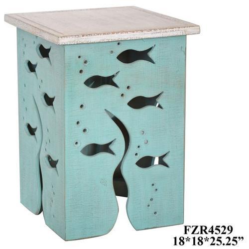 Crestview Collections - Aquarium Seafoam and Whitewash Square Accent Table