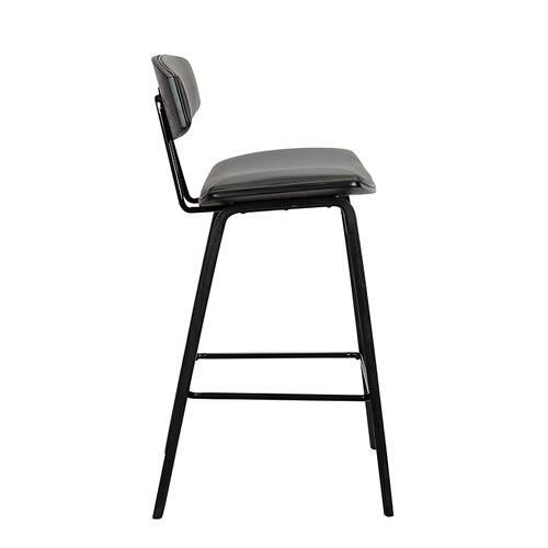 "Fox 28.5"" Mid-Century Bar Height Barstool in Grey Faux Leather with Black Brushed Wood"