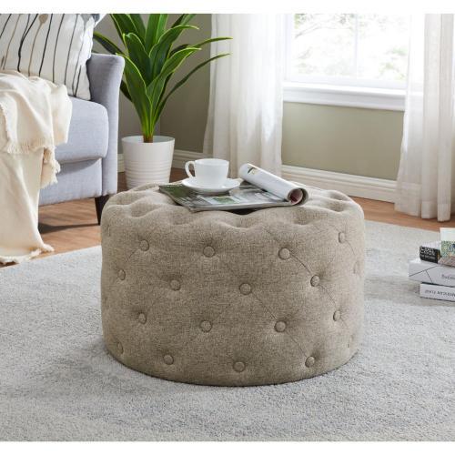 Lulu Round Fabric Tufted Ottoman, Minuet Linen