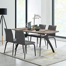 Andes and Lyon Gray Fabric 5 Piece Rectangular Dining Set
