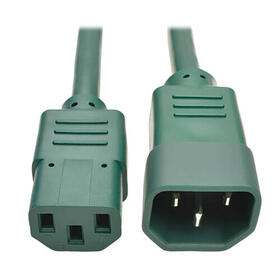 PDU Power Cord, C13 to C14 - 10A, 250V, 18 AWG, 3 ft., Green
