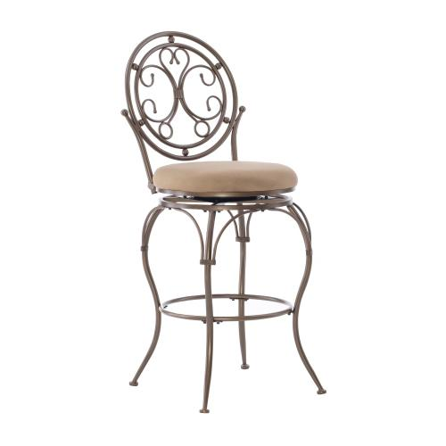Upholstered Seat and Scroll Circle Back Barstool, Bronze and Tan