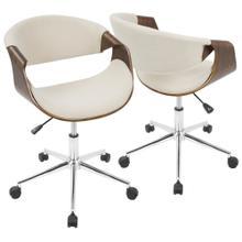 See Details - Curvo Office Chair - Chrome, Walnut Wood, Cream Fabric