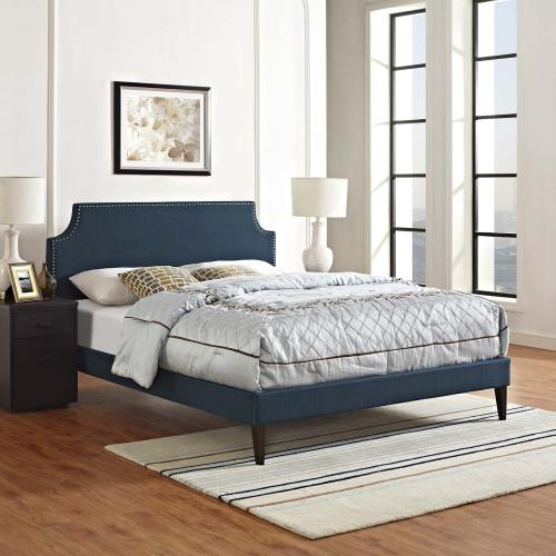 Corene King Fabric Platform Bed with Squared Tapered Legs in Azure