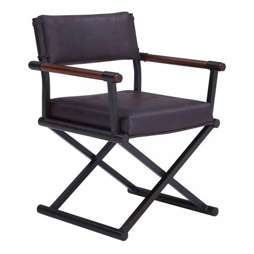 Armen Living Director Contemporary Dining Chair in Auburn Bay Finish and Bandero Espresso Fabric