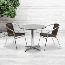 See Details - 31.5'' Round Aluminum Indoor-Outdoor Table Set with 2 Dark Brown Rattan Chairs