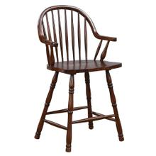 See Details - Windsor Counter Height Arm Stool - Distressed Chestnut Brown (Set of 2)