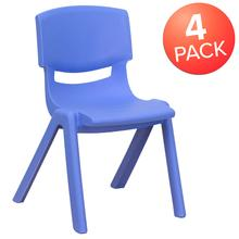 4 Pack Blue Plastic Stackable School Chair with 12'' Seat Height [4-YU-YCX-001-BLUE-GG]