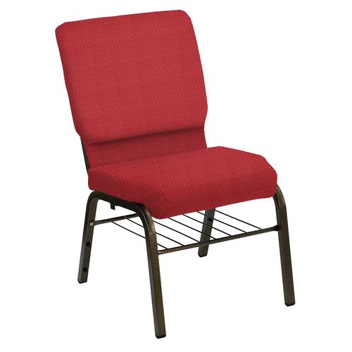 Flash Furniture - HERCULES Series 18.5''W Church Chair in Bedford Ruby Fabric with Book Rack - Gold Vein Frame