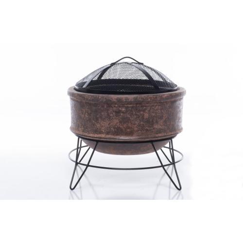 Earthenware Large Plain Fire Pit w/ stand + screen