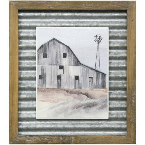Style Craft - WINTER BARN I  16in X 14in  Made in the USA  Textured Framed Print
