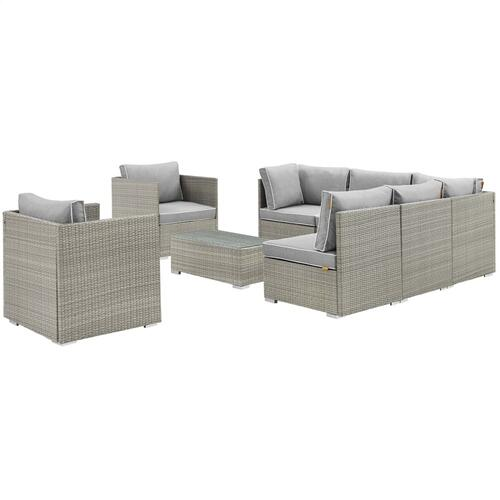Repose 8 Piece Outdoor Patio Sectional Set in Light Gray Gray